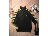 Adidas Black And Gold Zipped Bomber Jacket Size 34.