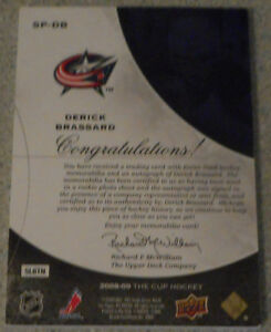 Derick Brassard , 2008-09 The Cup Signature Patches , 44/75 Gatineau Ottawa / Gatineau Area image 2