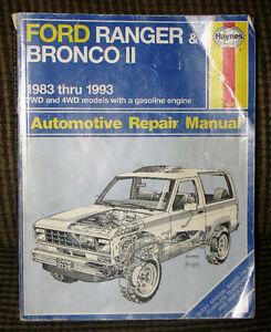 Haynes Repair Manual for Ford Ranger & Bronco II 1983 Thru 1993: