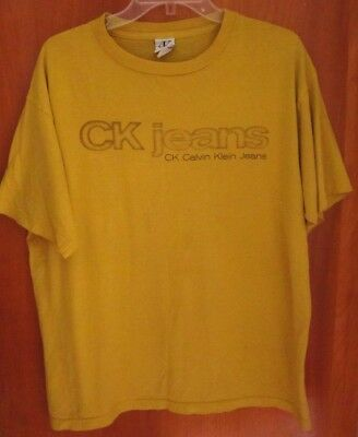 CALVIN KLEIN lrg T shirt classic Manhattan NYC fashion 2000s beat-up yellow tee