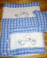 Literie bébé mouton bleu et blanc