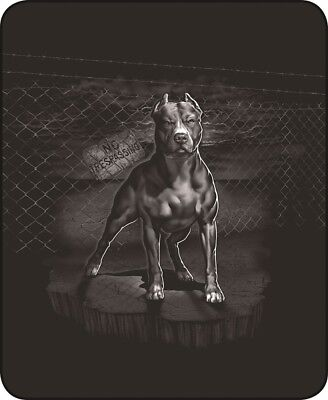 "NEW NO TRESPASSING PIT BULL DOG QUEEN 79"" X 96"" SOFT MEDIUM WEIGHT BED BLANKET"