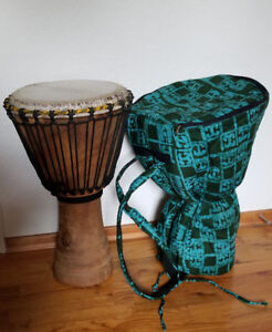 """2 PRO AFRICAN CARVED 24"""" DJEMBE DRUMS (15"""" dia.) FOR SALE"""
