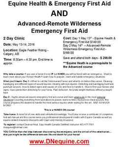 May 13-14 Equine Health and Advanced Emergency First Aid Clinic
