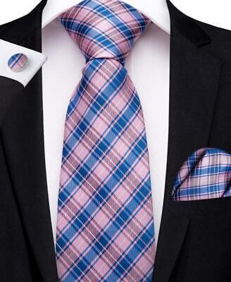 USA Blue Pink Silk Woven Mens Tie Set Checks Necktie Pocket Square Cufflinks  Check Square Cufflinks