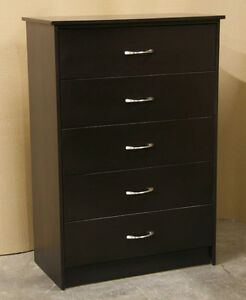 New Espresso Brown 5 Drawer Dresser Chest