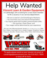 Help Wanted ~ 2nd Small Engine Mechanic