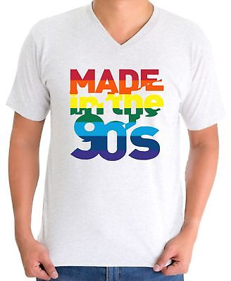 Made in The 90's V-neck T shirts Shirts Tops Men's Birthday Gifts Rainbow - 90s Birthday