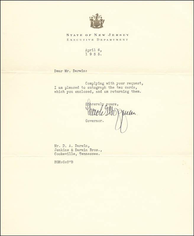 HAROLD HOFFMAN - TYPED LETTER SIGNED 04/06/1935