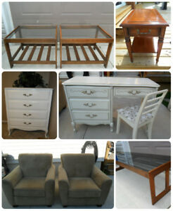 White Dresser, Desk, Club Chairs, Coffee & End Tables