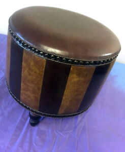 Unique Leather Hassock / Footstool SEE VIDEO