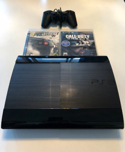 PS3 slim 12GB with controller, power cord and 2 games