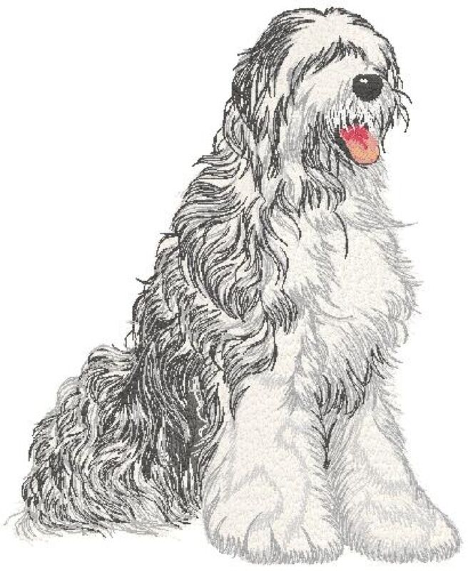 Embroidered Long-Sleeved T-Shirt - Old English Sheepdog DTL009