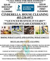 CINDERELLA HOUSE CLEANING.  A+ Rating