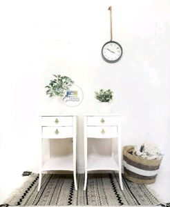 Pure White Tall End Tables with Storage