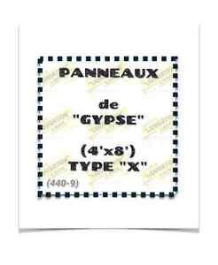 """(440-9) PANNEAUX DE """"GYPSE"""" (4'x8') TYPE """"X"""" 3.00$ /ch."""