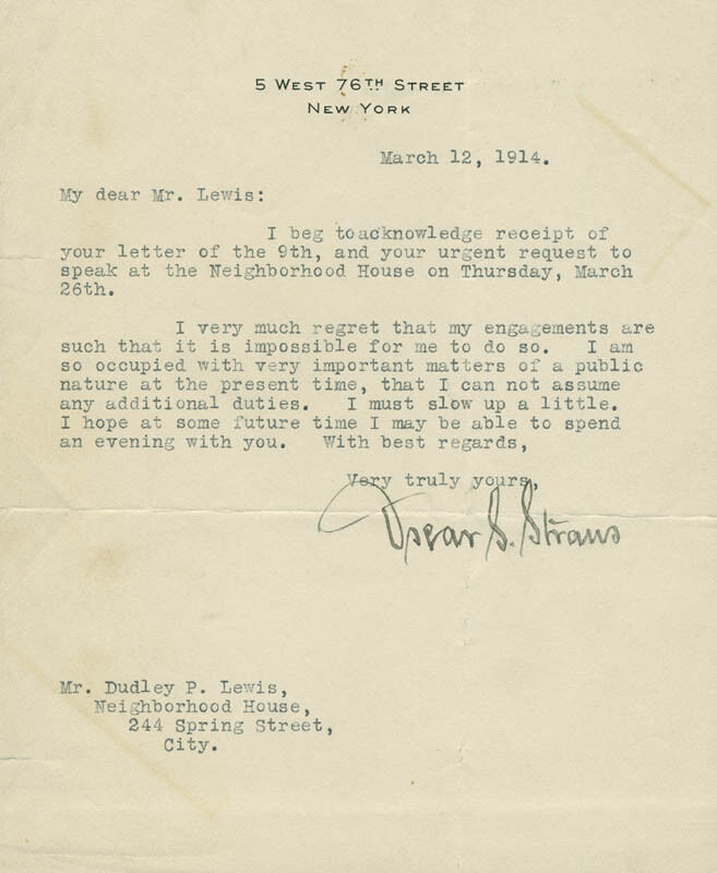 OSCAR S. STRAUS - TYPED LETTER SIGNED 03/12/1914