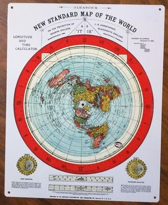 Metal Sign Flat Earth Map   Gleasons New Standard Map Of The World 1892 50054