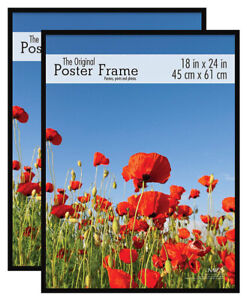 MCS Original Poster Frame, 18 by 24-Inch, Black, 2 Pack