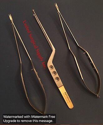 Or Grade Set Of 3 Yasargil Micro Bayonet Forceps   Tumor Grasping Forceps  9