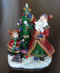 Ceramic Santa, Tree, Child