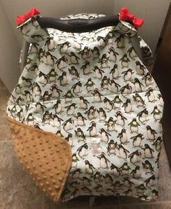 Car Seat Canopy - Penguins print - New - Custom Made