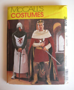 McCalls Pattern 3658, Men's Camelot Costumes, L-XL, Halloween