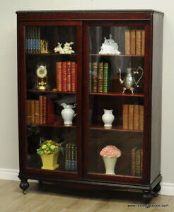 Antique Victorian Double Sliding Door Library Bookcase