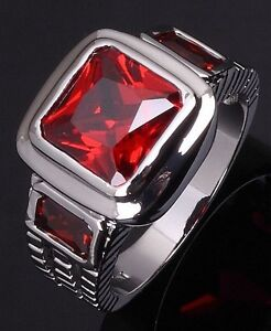 Mens 18K White Gold Filled Red Garnet Ring Size 10.5 - New