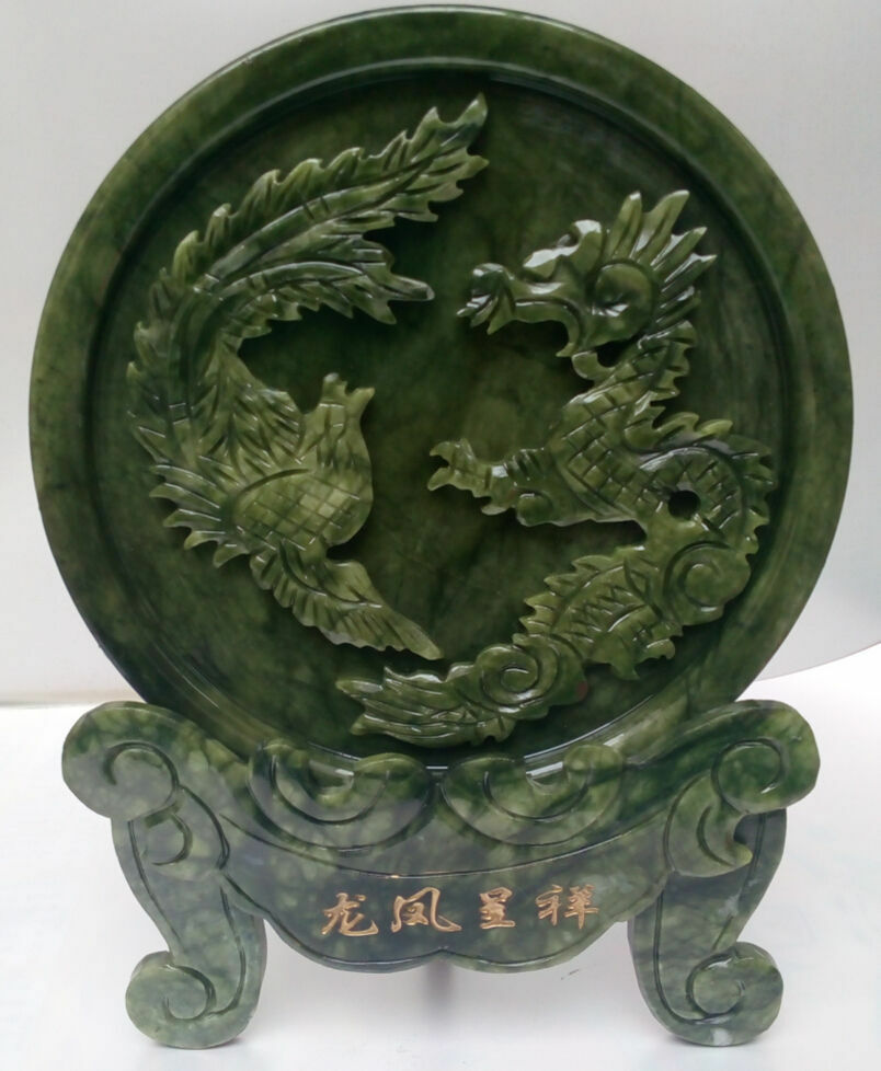 100/% Chinese natural jade hand carved statue of dragon /& phoenix