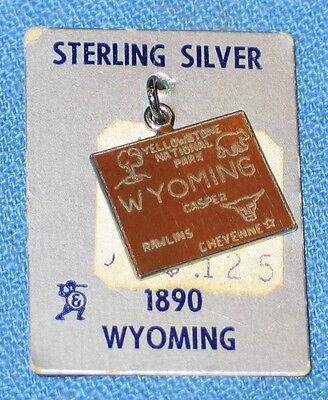 Vintage 1960's Travel Souvenir Sterling & Enamel Charm - Wyoming - NOS
