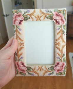 Vintage Petitpoint Needlepoint Picture Frame - Hand Stitched