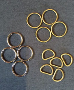 Metal O rings and D rings for pet leashes and collars.