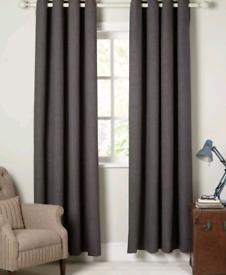 John Lewis & Partners Dark Grey/Black Eyelet Curtains | RRP £160