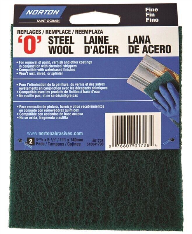 Norton 01728 Steel Wool Pad, Set of 2, #0 Grit, Fine, Green