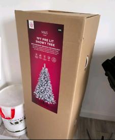 Pre-lit 7ft snow Christmas tree