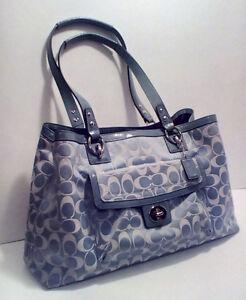 COACH: Ocean Blue Penelope Sig. Sateen Large Carryall +Wallet