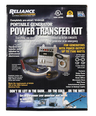 Reliance Controls 30 Amps 240 Volt 2 Space Surface Mount Generator Transfer Kit