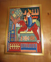 NORWEGIAN Needlepoint Framed TAPESTRY Picture - KING ON A HORSE