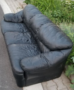 Black Leather Couch - Free