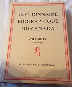 Dictionnaire biographique du Canada, vol.9 et vol.10