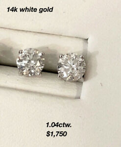 14K White Gold Diamond Stud Earrings ^See Attached Photo List !