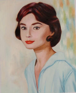 hand painted Oil Painting on Canvas NEW -Audrey Hepburn