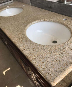 "61"" Double Sink Granite Countertop, Sinks Included ""NEW"""