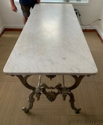 Antique French Cast Iron Marble Top Butcher's Table with 4 Steer / Bull Heads