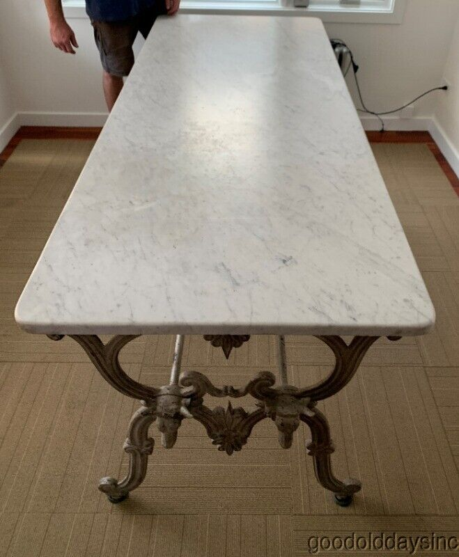 Antique French Cast Iron Marble Top Butcher