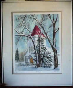 "Hand Signed and Titled Lithograph by Terry Kleemola ""The Chapel"""