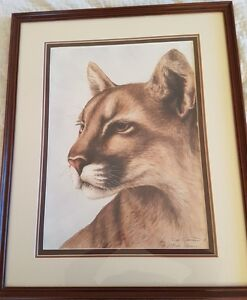 "Sue Coleman Limited Edition Cougar Look to the Hills 30"" x 24.5"""