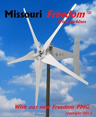Missouri Freedom 12 volt 1700 watt max 5 blade wind turbine generator Non Cog
