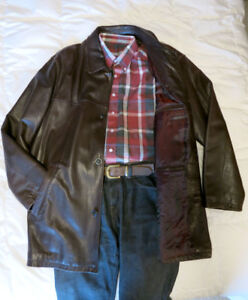 Brown Leather Mid-length Coat XL – Trapper Germany